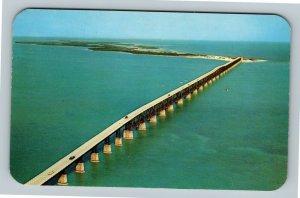 Florida Keys, Aerial View, Overseas Highway Bridge To Key West, Chrome Postcard