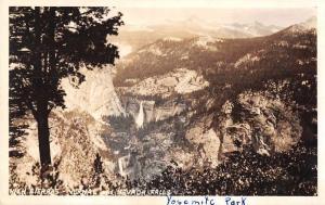 Yosemite Park High Sierras Nevada Falls Real Photo Antique Postcard J54834