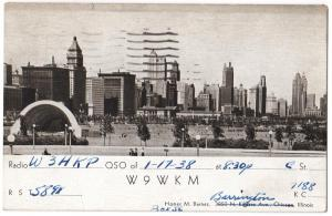 QSL, W9WKM, Barrington, Illinois, 1938