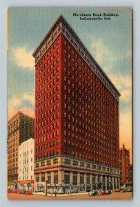Indianapolis IN-Indiana, Merchants Bank Building, Linen Postcard