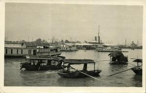 china, CANTON GUANGZHOU 廣州, Harbour Scene, Boats (1930s) RPPC Postcard