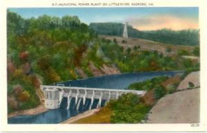 Municipal Power Plant on Little River, Radford, Virginia, VA, Linen