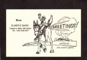 ME Greetings From Elmers Elmer's Barn Donkey Mule Coopers Mills Maine Postcard