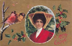 A Merry Christmas, Portrait of Woman, Birds on a branch, hollies, PU-1909