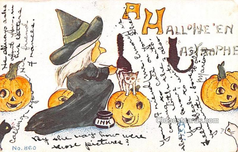 Halloween Vintage Post Cards Witch 1913