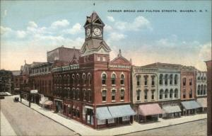 Waverly NY Broad & Fulton c1910 Postcard