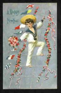 POSTCARD-VINTAGE - HAPPY NEW YEAR -SAILOR BOY-EMBOSSED 1909
