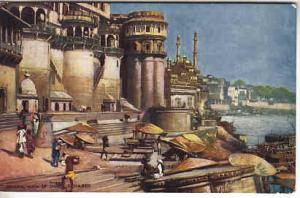 India - General View of Ghats, Benares  Tuck Oilette