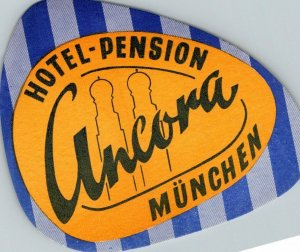 Germany Muenchen Hotel Pension Ancora Vintage Luggage Label sk4880