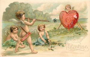 c1907 Embossed Valentine Postcard S.120 Cupids Playing Target Practice w/ Heart