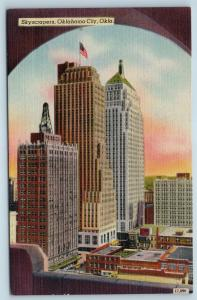 Postcard OK Oklahoma City Skyscrapers Vintage Linen N8