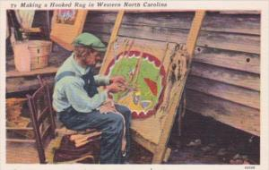 Man Making A Hooked Rug In Western North Carolina