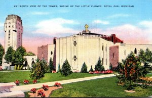Michigan Royal Oak Shrine Of The Little Flower South View Of The Tower 1941