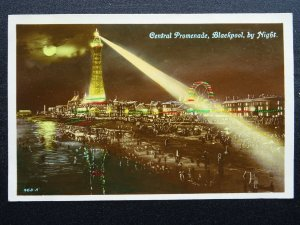 Lancashire BLACKPOOL by Night CENTRAL PROMENADE c1930s RP Postcard by Advance