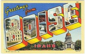 Boise Idaho Large Letter Linen Postcard by Curteich 1942