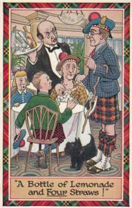 Scottish Man On Free Seat Seats Mean Newspaper Antique Comic Humour Postcard