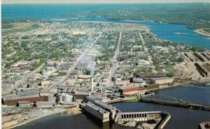 Aerial View, Paper Mill, International Bridge, FORT FRANCES, Ontario, Canada,...