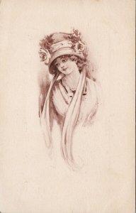 Young Woman Portrait Hat Sepia Art Girls No.110 Postcard F36