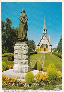 Canada Nova Scotia Grand Pre Church Of St Charles and Statue Of Evangeline