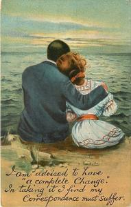 Man Cuddles With Woman By Ocean~Advised A Complete Change~Correspondence Suffers