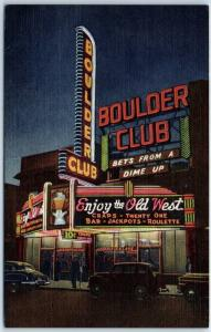 1940s Las Vegas, Nevada Postcard BOULDER CLUB CASINO Street Scene Night Linen