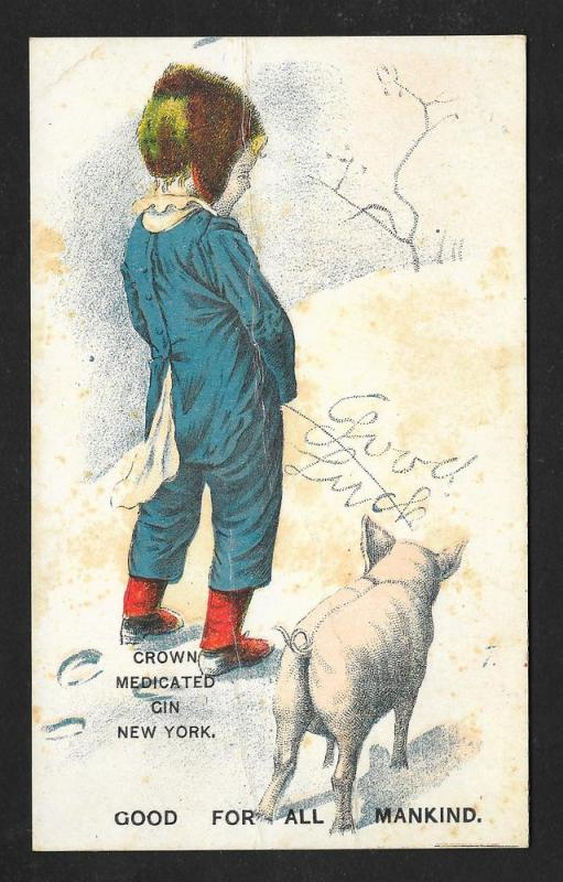 VICTORIAN TRADE CARD Crown Medicated Gin Boy 'Spelling' Snow