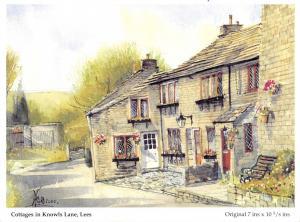 Art Postcard Cottages in Knowls Lane, Lees, Oldham, Lancashire by D. Ford L34