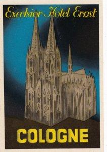 Germany Cologne Excelsior Hotel Ernst Vintage Luggage Label sk1222