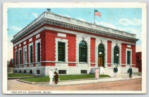 Biddeford Maine~US Post Office~Pretty in Pink~Lady on Sidewalk~Businessmen~1926