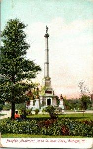 Vtg Postcard 1907 UDB DOUGLAS MONUMENT & Tomb Chicago, IL Illinois