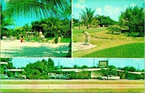 Hurricane Lodge Motel Multivue États-unis 1 Miami Floride Fl Unp Vtg Chrome