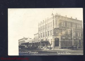 RPPC CONCORDIA KANSAS DOWNTOWN STREET SCENE MASONIC REAL PHOTO POSTCARD