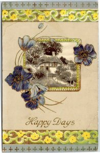 Happy Returns - blue flowers and house - greetings postcard