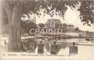 Old Postcard Auxerre E Church St Germain for the Quays Promenade