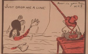 VINTAGE Postcard Just Drop Me a Line 1907