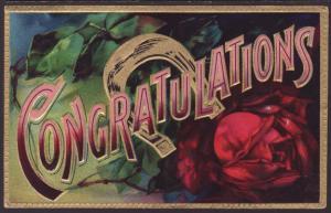Congratulations,Horseshoe,Rose Postcard