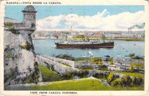View From Cabana Fortress Havana Cuba Tarjeta Posta 1935 White Border Postcard