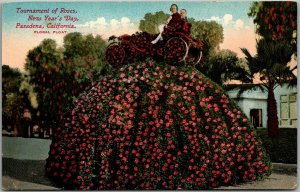 Vintage Pasadena Tournament of Roses Postcard Floral Float Parade Scene 1910s