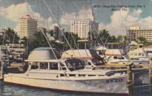 Florida Miami Pier 5 Deep Sea Fishing Fleet 1953 Curteich