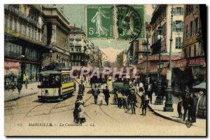 Old Postcard Marseille Tramway The Cannebiere