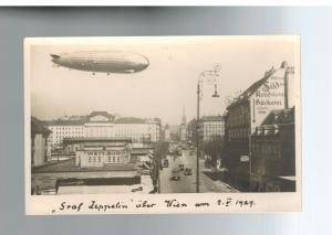 1929 Mint RPPC Graf Zeppelin Flying Over Vienna  LZ 127 Real Picture Postcard 2