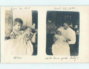 Pre-1918 rppc TWO PICTURES OF NEWBORN BABY POSTCARD - TAKEN 18 DAYS APART HL9972