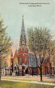 Lansing Michigan~Plymouth Congregational Church~House next door~1913 Postcard