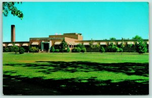 Flora Illinois~Clay County Hospital~Landscaping~Smoke Stack~1957 Postcard