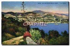 Old Postcard Villefranche Sur Mer bay