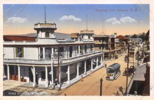 KINGSTON JAMAICA~KING STREET~TROLLEY~DUPERLY #20 PUBL POSTCARD 1910s