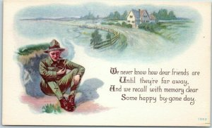 1910s WWI Postcard We Never Know How Dear Friends Are… Illus. PC Series 1362