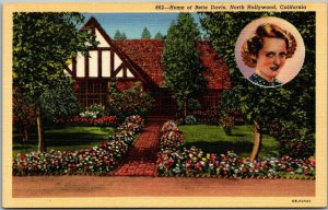 North Hollywood, CA Postcard Home of BETTE DAVIS House View Linen c1940s