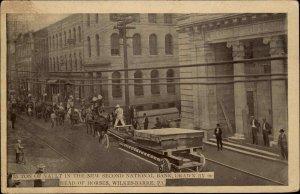 Wilkes-Barre PA 90 Horse Team Hauling Bank Vault c1910 Postcard