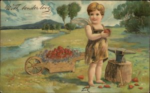 Valentine - Cherub Blacksmith Forge Gold Wheelbarrow c1910 Postcard